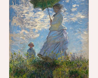Impressionism Art, The Promenade, Woman with a Parasol -Claude Monet Painting Museum Quality Reproduction
