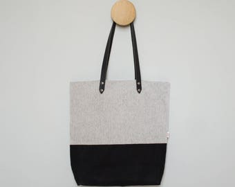 Shopper - Black Waxed Canvas - Leather Handles and Optional Personalization