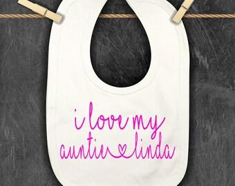 Personalized I Love My Auntie Name Bib