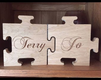 Carved oak veneer jigsaw names