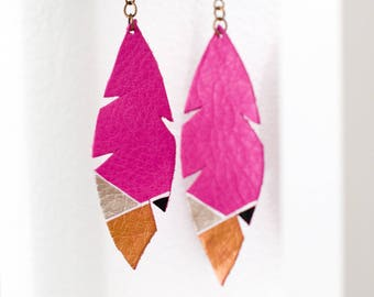 CHARLIE Leather Feather Earrings