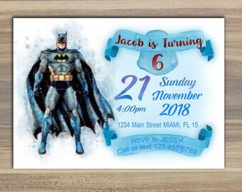 Batman Invitation - Batman Invites - BatMan Birthday Party Invite - Superheroes Invitation - Avengers Invitation - Batman watercolor cards