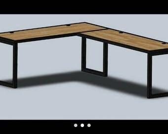 "Custom desk 30"" H x 24"" W x 48"" L (left)  30"" H x 24"" W x 96"" L (right)"