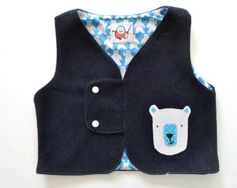 wool vest lined with handmade application