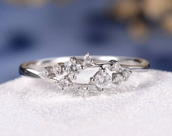 Unique Diamond Cluster Ring Twig Engagement Ring Floral Wedding Band Snowflake White Gold Dainty Flower Anniversary Promise Graduation Gift