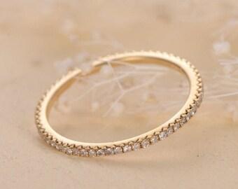 Diamond Eternity Band Wedding Band Women Stacking Diamond Micro Pave Bridal Ring Simple Tiny Dainty Minimalist Thin Matching Bands Gold