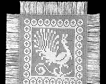 Folk Peacock Filet Crochet Pattern