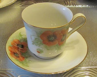 Hand Painted, Artist Signed Cup & Saucer, Orange Poppies