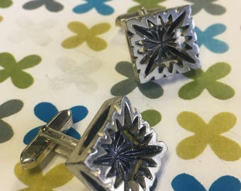 1950s silver Brutalist style cufflinks *FREE SHIPPING*