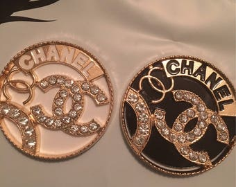 Cc brooch. Choose either white or black