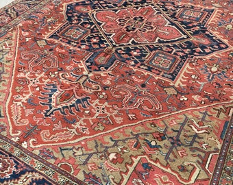 "9' x 11'7"" Antique Persian Heriz"