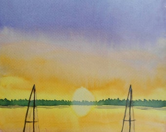 Original watercolor. Sailing boats