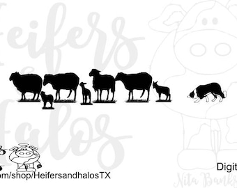Border collie sheep herding svg, png, pdf, eps, dxf or cricut and silhouette, t-shirts, decals, yeti cups, farm svg