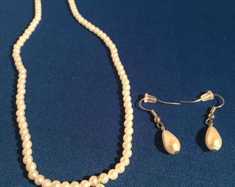 Handmade 20 inch faux pearl necklace with faux pearl earrings  by Faithful Creations