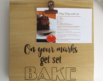 On Your Marks Get Set BAKE Recipe Holder Stand, Great British Bake Off Sign, Reclaimed Wood Great British Baking Show, Mothers Day Gift