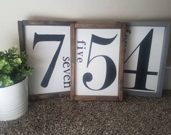 Numbers sign. Wood sign with number. Rustic and farmhouse decor.