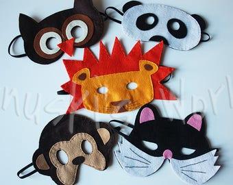 Animal masks, felt masks, animals, lion, Panda Bear, Owl, Monkey, cat, masks