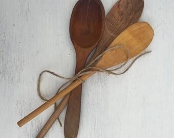 Vintage Wooden Spoons Set of 3