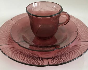 Vintage Fortecrisa Mexico 3 Piece Purple Glass Dinnerware Set