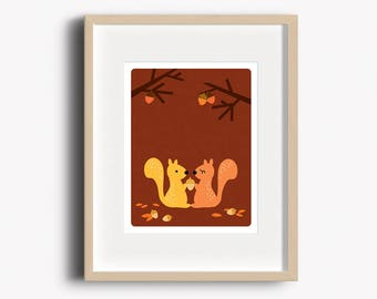 Squirrel Print - Home Decor - Woodland Prints - Squirrels Art Print - Wall Art
