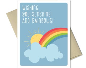 Thinking of you Card - Cheer Up Card - Just Because Cards - Inspiring Cards - Good Luck Card - Sympathy card - Sunshine & Rainbows