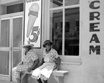 """1940 Ice Cream Parlor, Port Gibson, Mississippi Vintage Photograph 8.5"""" x 11"""""""
