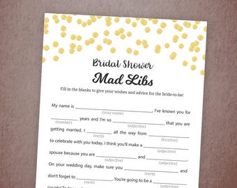Bridal Shower Mad Libs Game Printable, Gold Glitter Confetti Bridal Mad Libs, Instant Download, Bride Advice Card, Wedding Shower, A001