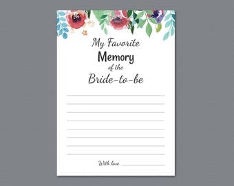 Favorite Memories of the Bride To Be Printable Game Card, Watercolor Floral, Bridal Shower Activity, Wedding Shower, Instant Download, A007