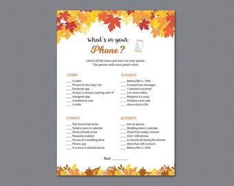 Fall Theme Whats in your Phone Game Printable, Autumn Winter Leaf, What's on Your Phone, Bridal Shower Games Download, Wedding Shower, A021