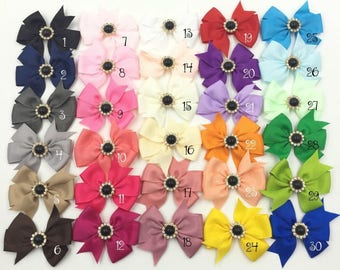 "3"" 30colors Handmade Grosgrain Bows+Pearl Buttons Ribbon Boutique Flower Bows+Clip For Kids Girls Hair Accessories"