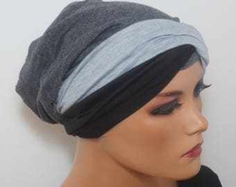 Cool BEANIE/Hat + Black gray good to combine 2 headbands turban chemo chemical Cap mottled fashionable almost easy