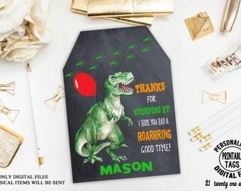Dinosaur Favor Tags, Dinosaur Thank you Tags, Dinosaur Party Gift Tags, Dinosaur Birthday Favor Tags, Dinosaur Printable Favor tags, Digital