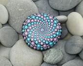 Purple & Turquoise Mandala Stone - Chakra Stone -Hand-Painted Meditation Mandala Rock - Home Decor - Mandala Art - Rock Art - Paint Rock
