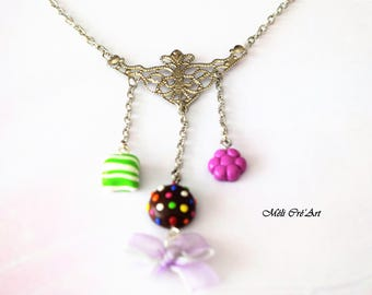Silver necklace Gourmet candy candy romantic filigree