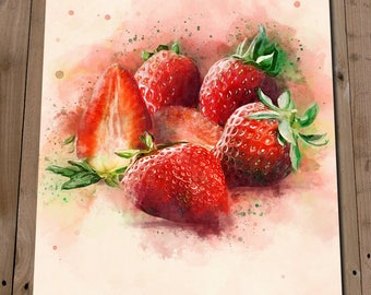 Kitchen Prints - Strawberry Art Print - Kitchen Artwork - Fruit Wall Art - Red Fruit - Strawberries - Watercolour Style - Fruit Decor Poster