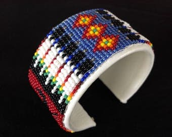 Vintage Native American Hand Stitched Beaded Leather Cuff