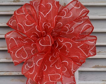 Glitter Hearts Bow, Valentine's Day Bow, Red Glitter Bow, Sheer Hearts Bow, Wreath Bow, Basket Bow, Decorative Bow, Gift Bow