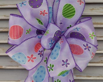 Easter Egg Bow, Easter Bow, Purple Bow, Easter Basket Bow, Wreath Bow, Basket Bow, Decorative Bow, Spring Bow,