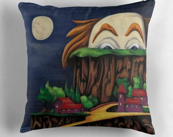 Cover art - reproduction art painting landscape scary clown - bright colors - digital painting - square cushion - 16-18-20 inches