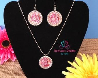 Colorful Boho Mandala Necklace, Earring Set, Bottle Cap Necklace, Bottle Cap Earring, Paisley, Colorful Design, Bottle Cap Pendant, 1 inch