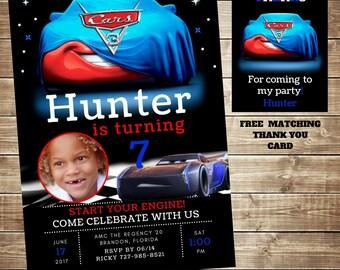 Disney Pixar Cars 3, Cars 3 Movie, Lightning McQueen Birthday Invitation, Jackson Storm Invitation, Mater Invitation