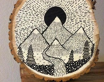 Mountain Painting on Wood Slab
