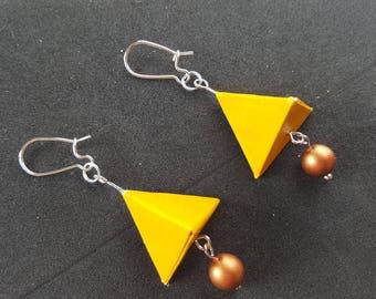 Origami pyramid mustard yellow earrings