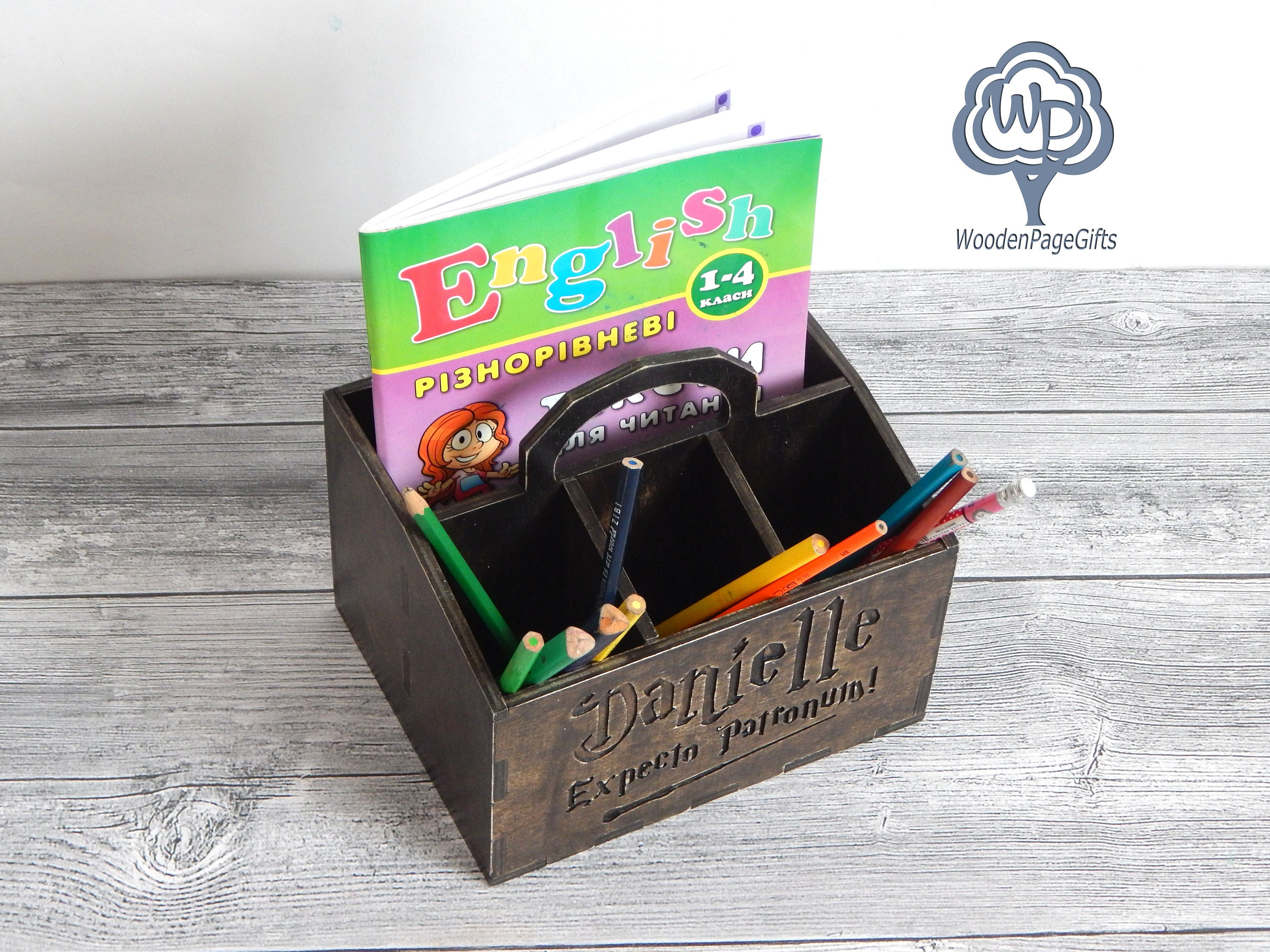 Nice Wood Desk Organizer Harry Potter Fans Office Supplies Pencil Cup Name Wood  Pencil Holder Wood Name