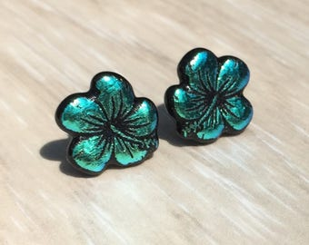 Dichroic Fused Glass Stud Earrings -  Aqua Blue Hibiscus Flower Laser Engraved Etched Stud Earrings with Solid Sterling Silver Posts