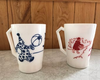 Vintage children's mugs - 1 circus/clowns and 1 little red riding hood
