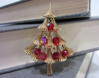 Vintage Mylu Signed Red Aurora Borealis Stylized Christmas Tree Brooch