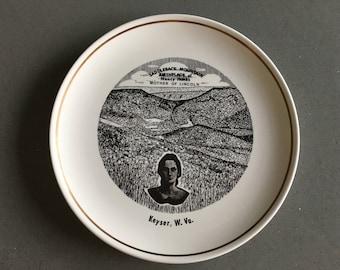 Souvenir, Commemorative Plate, Nancy Hanks, Mother of Abraham Lincoln, Birthplace, Saddleback Mountain, Keyser WV