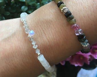 Clear Quartz Bracelet, Moonstone bracelet,  Herkimer Diamond Bracelet, Stacking Crystal Bracelet, Moonstone Handmade Jewelry, Bridal Gift