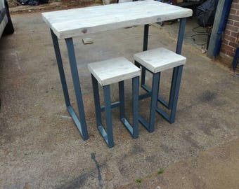 Industrial chic tall bar table and stools